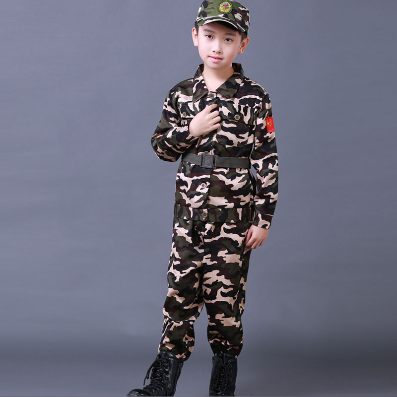 3PCs New Halloween Fancy Kids Army Soldier Cosplay Costumes Military Uniform Boys Camouflage Combat Training Jackets 100-180cm
