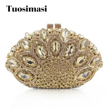 Evening bags women clutch bags crystal gold handbag wedding bridal high quality small purse bag shoulder bags