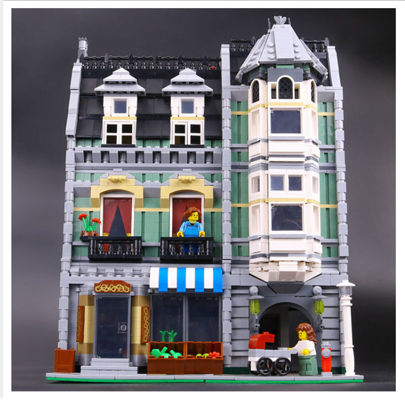Building Blocks City Street 15008 2462Pcs Green Grocer Model Compatible 10185 Toys Bricks Lepin city street in blocks lepin 15008 new city street green grocer model building blocks bricks toy for child boy gift compatitive funny kit 10185 2462pcs