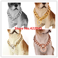 10/12/15/17/19mm Top Quality 316L Stainless Steel Silver Gold Rose Gold Pet Supplies Curb Cuban Chain Dog Collar Necklace 12-36""