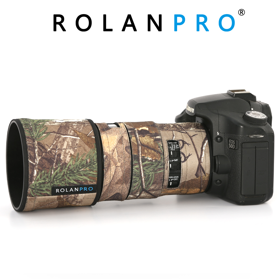 ROLANPRO Lens Camouflage Coat Rain Cover For Canon EF 100mm F2.8L IS USM  Lens Protective Sleeve Guns Protection Case Clothing