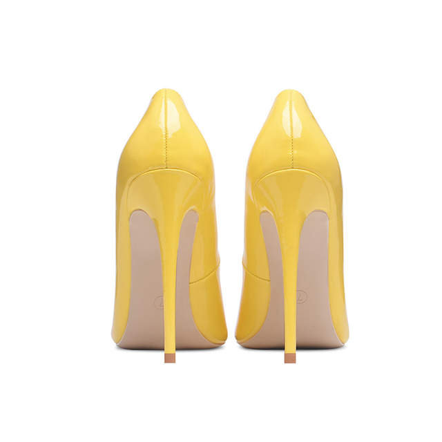 placeholder GENSHUO Yellow Pumps Shoes Women High Heels Pointed Toe Lacquer  10 12cm Sexy Heels Party Wedding 72ede7e9a18e