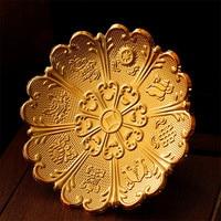 Buddhist Temple Sacrificial Vessel Exquisite Carving Eight Auspicious Symbols Fruit Plate Pretty Lace Decorative Tray 6/7/8 Inch