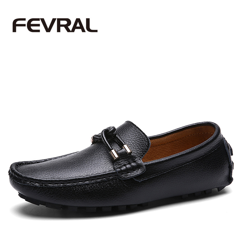 FEVRAL SplitLeather Casual Shoes Men Quality Waterproof Fashion Loafers Slip On Soft Moccasins Male Loafers Flats Men Shoes 2017 autumn fashion men pu shoes slip on black shoes casual loafers mens moccasins soft shoes male walking flats pu footwear