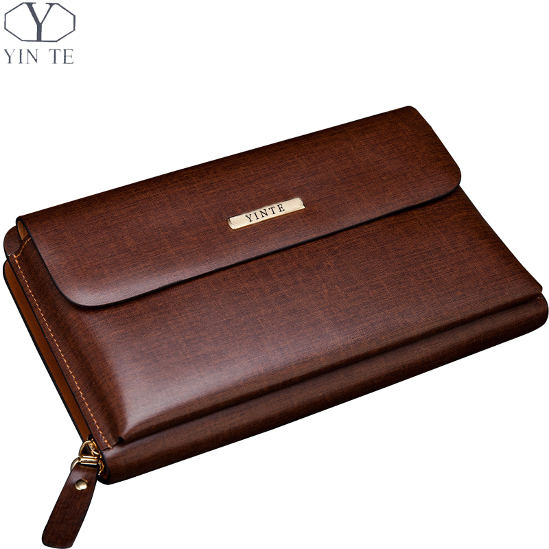 YINTE Men's Clutch Wallet Leather Zipper Bag Men Business Hand Bag Phone Wallet Passport Purse Wrist Bag Wallet Portfolio T10341 new oil wax leather men s wallet long retro business cowhide wallet zipper hand bag 2016 high quality purse clutch bag page 8