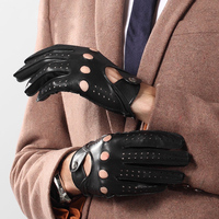 Men's Genuine Leather Gloves Spring Autumn Thin Locomotive Breathable Hole Unlined Men Sheepskin Gloves Male 2520
