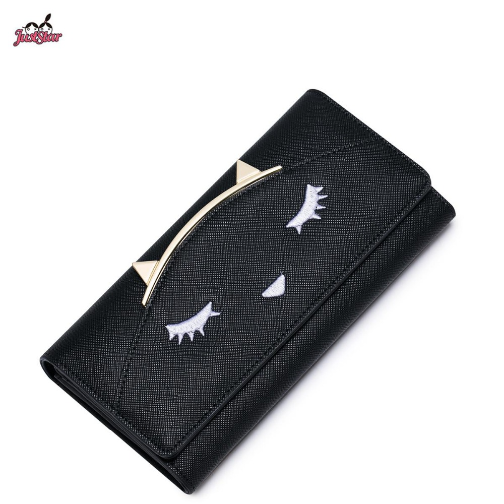 ФОТО Just Star Brand Design Fashion embroidery Cat Ears PU Women Leather Girls Ladies Long Wallets Cards Holder Purse Clutches