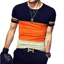2018 new casual tshirt fashion patchwork t shirt men high quality t-shirt short sleeved camisetas slim fit Tops & Tees