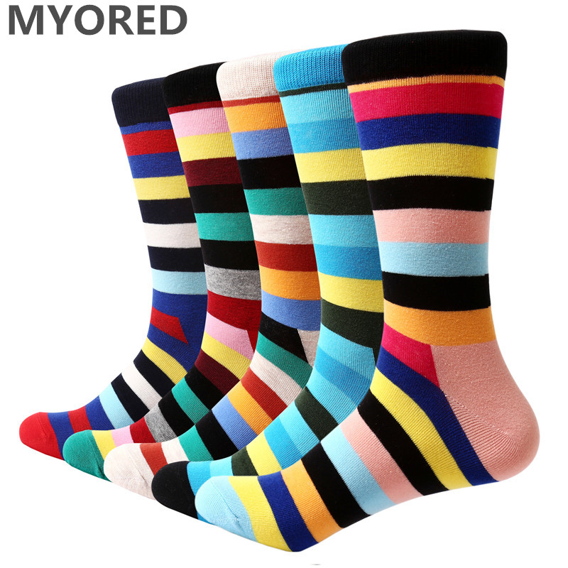 MYORED 2018 NEW 5 Pair/lot Mens Socks Classic Colorful Thick Stripes Funny Socks Men's Casual Business Crew Socks Man Gift Socks