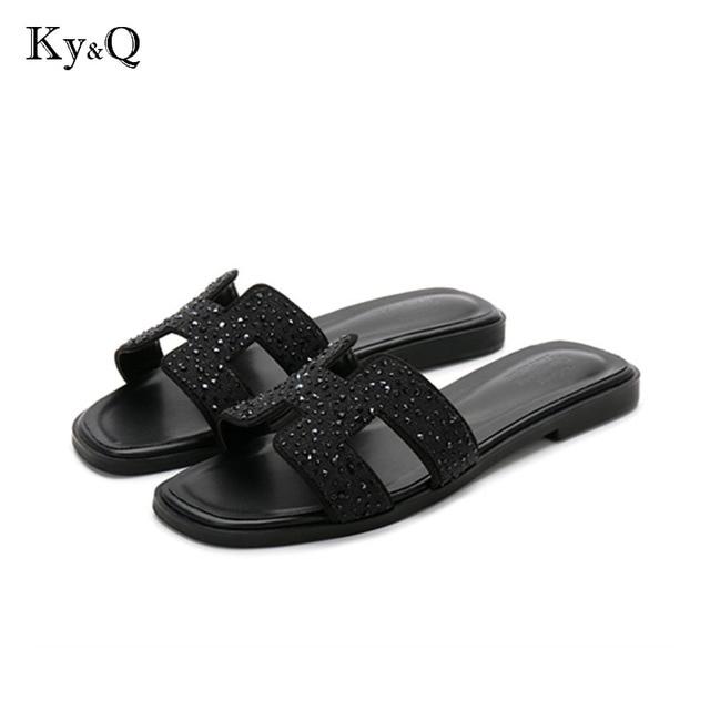 Novos chinelos de cristal cortar sandálias da praia do verão Moda mulheres desliza chinelos interior ao ar livre deslizamento ons flip flops plus size