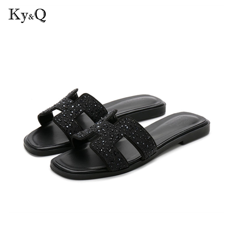 new crystal slippers cut out summer beach sandals Fashion women slides outdoor slippers indoor slip ons flip flops plus size children parents boys girls cartoon bathroom slippers summer women home slippers lovers slides flat with indoor fashion new