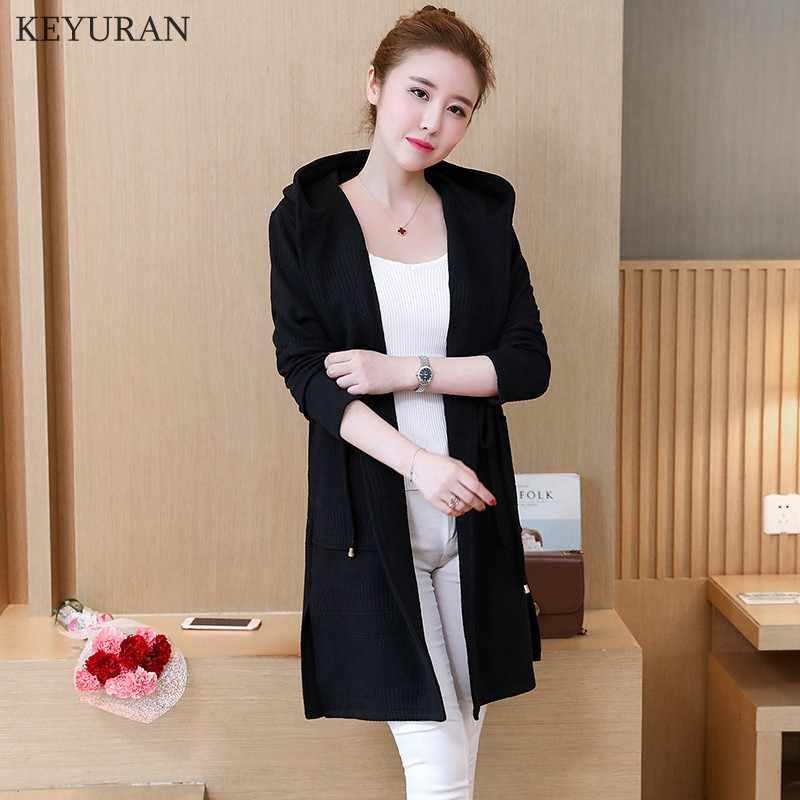 Большой плюс размер L-5XL Весна Женский вязаный свитер с капюшоном пальто 2019 осень мода средней длины чистый цвет кардиган женский свитер