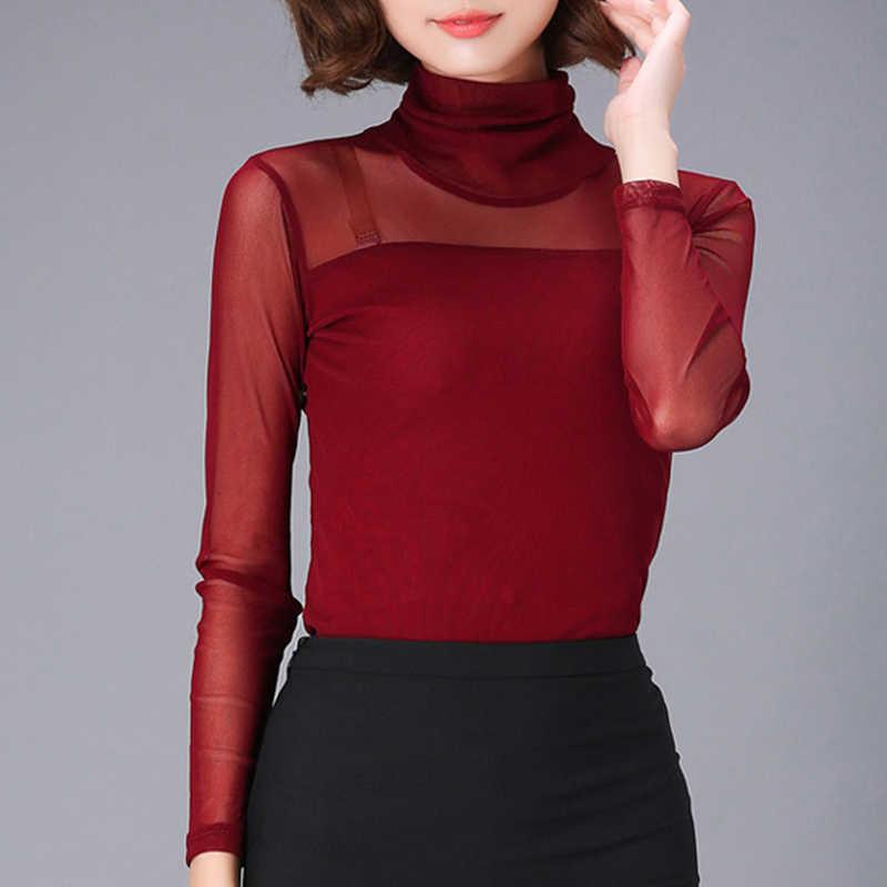 Blusa de encaje negro Sexy para mujer camisa de cuello alto elástica para mujer Blusas informales para mujer Blusas sólidas femeninas 2019 Tallas grandes