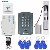 DIYSECUR Remote Control 125KHz RFID Password Keypad Access Control System Security Kit + Electric Bolt Lock V2000 C