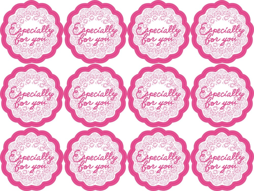 120pcs/lot Especially For You Pink Lace Vintage Stickers Hand Made For Thank You Gift Handmade Cake Baking Sealing Sticker M1161