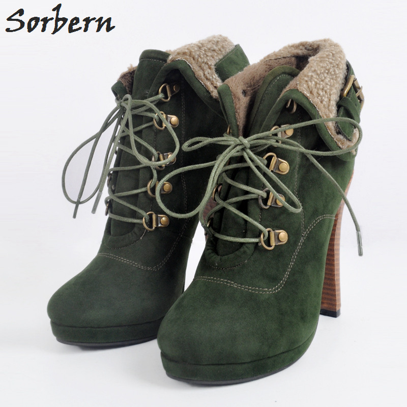 Sorbern Green Short Boots Women Plus Size 34-48 Botas Mujer Ankle Boots For Women Boots Women Winter High Heel Boots Lace Up women sexy high heel ankle boots with lock lace up patent leather boots autumn short boots wedding shoes women botas size 36 46