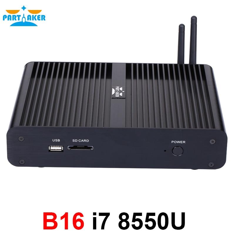 Image 4 - Partaker B16 DDR4 Fanless Mini PC Intel Core i5 8250U i7 8550U 32GB RAM 512GB SSD windows 10 Quad Core mini pc HDMI UHD graphics-in Mini PC from Computer & Office