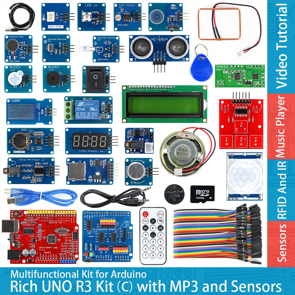 Rich UNO R3 Atmega328P Development Board Module Kit C Compatible with Arduino UNO R3,with MP3 RTC Temperature Touch Sensor atmega328p mcu development board compatible with uno r3 io expansion shield sensors pack uno plus package a