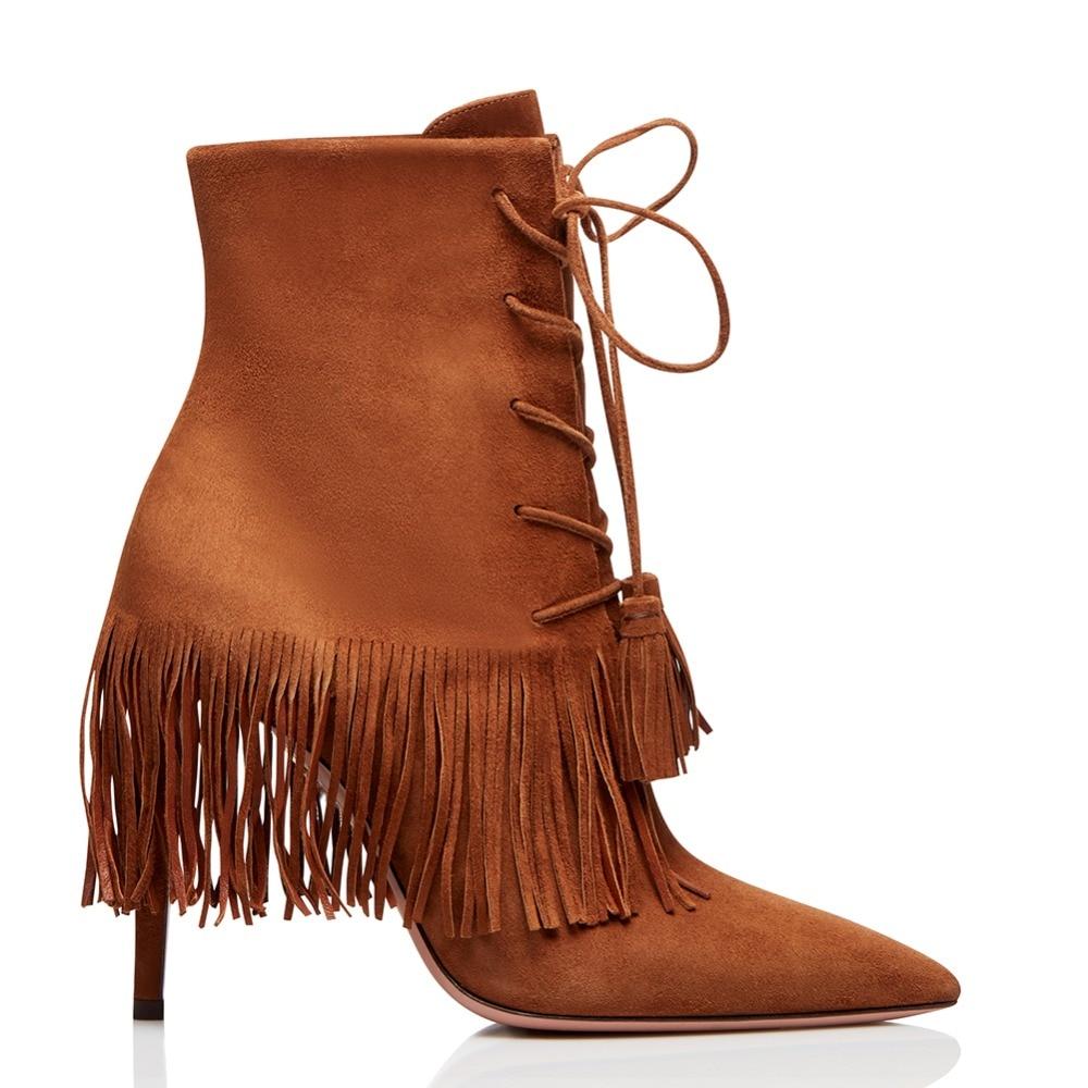 D'hiver 2019 Haut Automne Brown red Bottes Bout Dames Rouge Cheville Fringe Mince Up Gland Talon Chaussures Courts Bottillons Femmes Lace Pointu Brun tHTRwqw6C