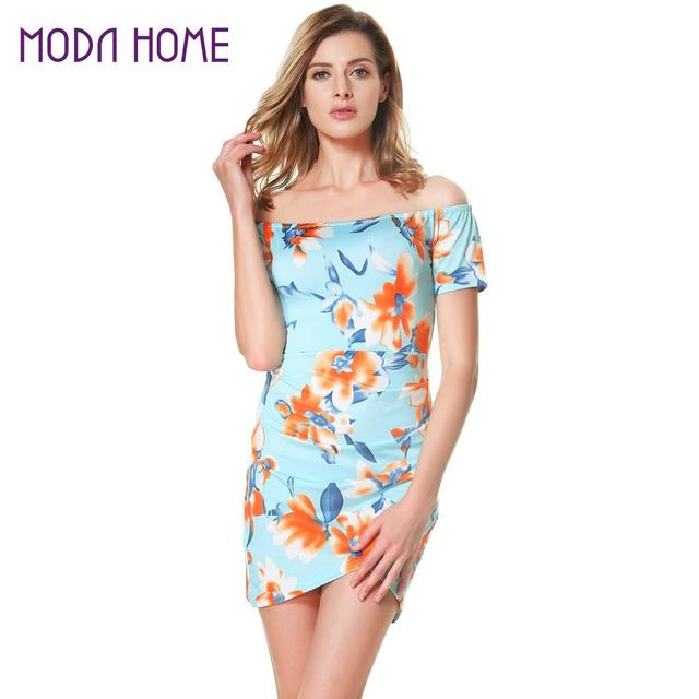 155195855b63 Women Floral Off the Shoulder Dress Slash Neck Ruched Plus Size Wrap Dress  Short Sleeves Back