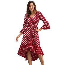 polka dot dress Womens seven-point  sleeves large size irregular ruffled belt V-neck chiffon Beach
