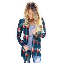 Женская мода Пальто Куртки Осень С Длинным Рукавом Плед Лоскутное Свободно Кардиган Плюс Размер LJ5576M