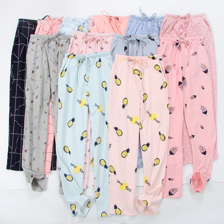 Lounge Pajamas Night-Pants Knitted-Trousers Bottom Women's 100%Cotton Cartoon Thin Comfortable