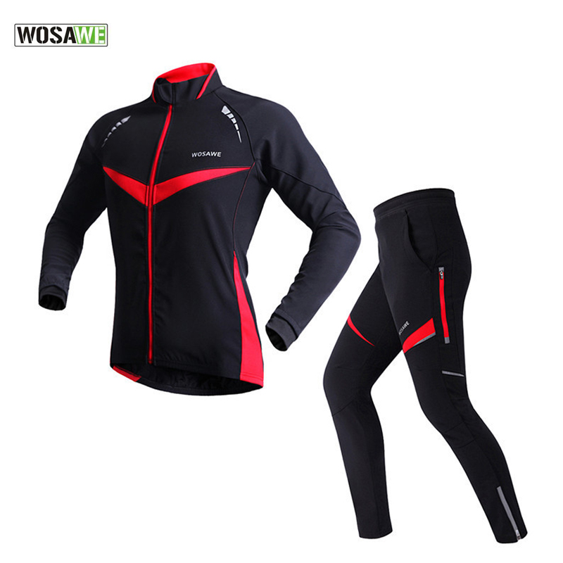 WOSAWE Cycling Sets Fleece Thermal Windproof Cycling Jersey 4D Gel Pad Bike Pants Cycling Clothing MTB Clothes Bicycle Suit Set wosawe cycling jersey sets winter thermal sports pro jersey triatlon bike bicycle clothing jackets pants men women