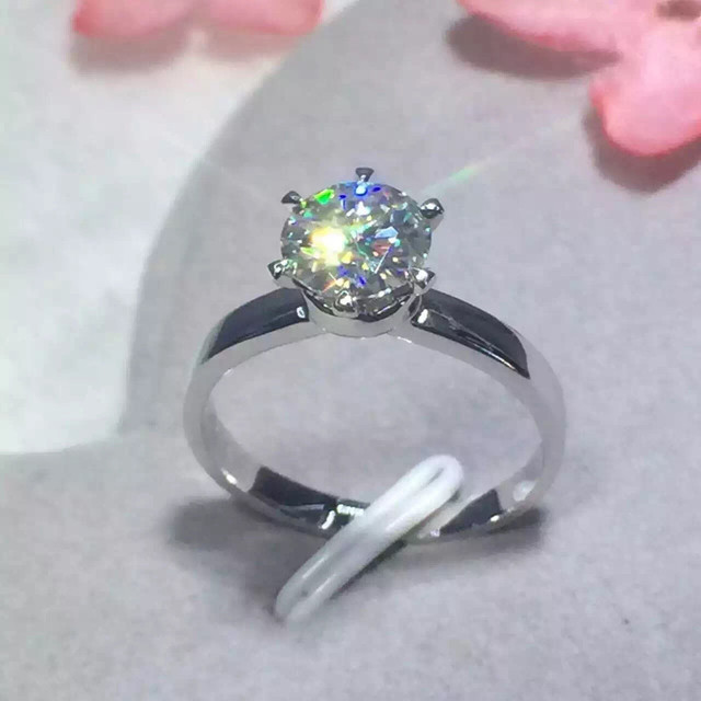 1 Carat ct F Color Anniversary Engagement Wedding Moissanit e Ring Solid 585 Yellow Gold For Women Brithday Gift