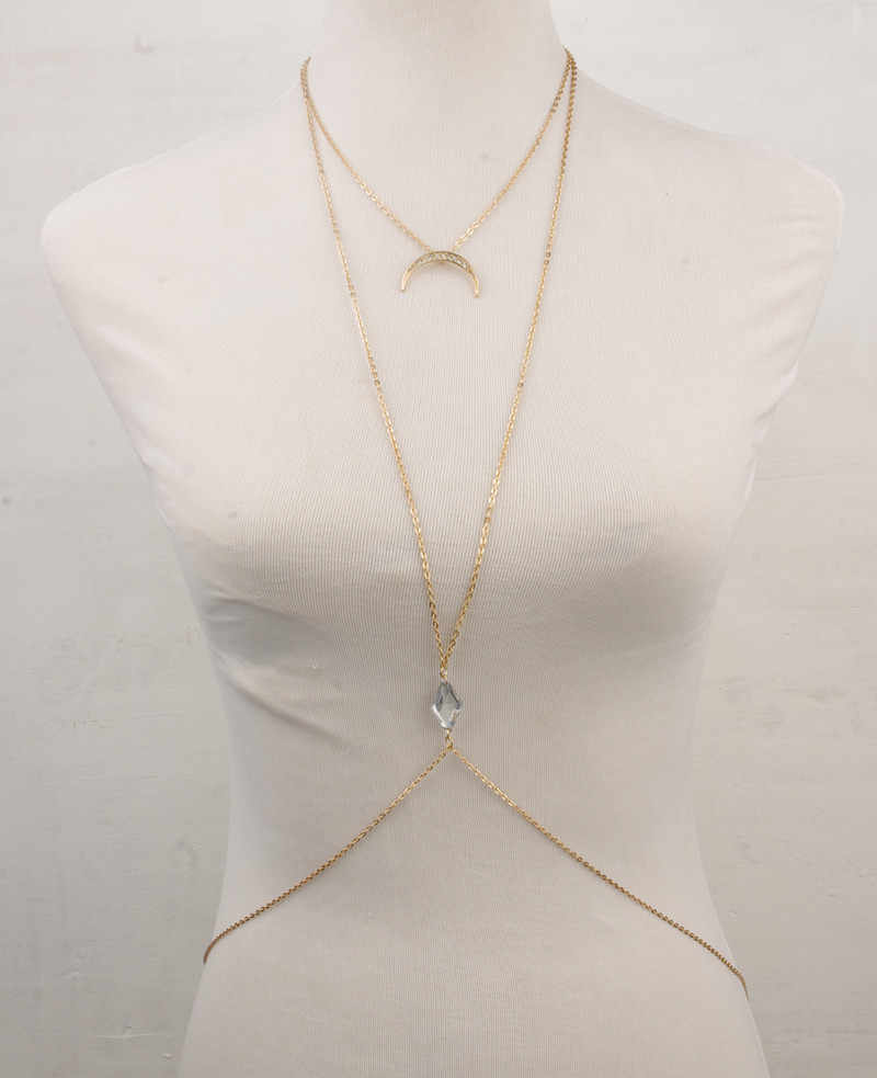 Kualitas tinggi Multi Layer Set Bohemia bulan Pendant Kalung Wanita Wanita Palang Rantai Berlapis Emas Kalung Pernyataan Perhiasan