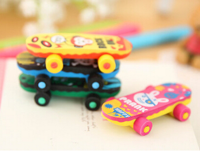 New Arrival street boy skateboard eraser set cute eraser funny eraser MOQ 4 pieces per lot