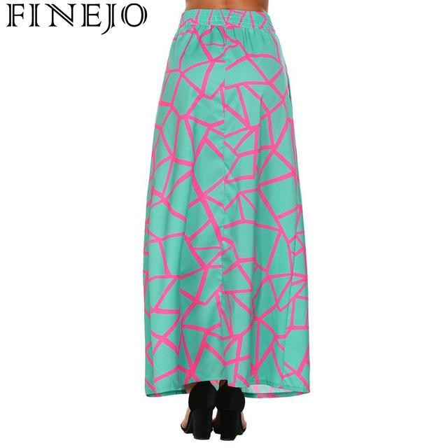 FINEJO Feminina Saias Summer Boho Beach Maxi High Elastic Waist Vintage Style Women Long Skirt Lace-up Casual Fashion Saia 8