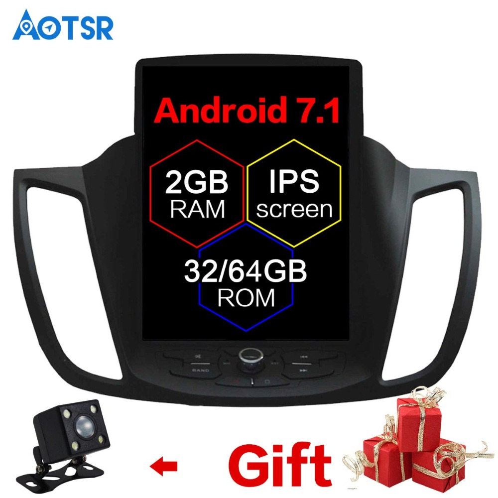 Android Tesla style De Voiture Aucun Lecteur DVD GPS Navigation Pour Ford Kuga 2013-2017 Auto navi stéréo headunit multimédia recoder