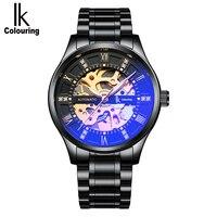 IK COLORAÇÃO Relógio Relógio Automático Dos Homens Mecânicos do Relógio dos homens Tendência Oco À Prova D' Água Luminosa Relógio Esportivo de Aço