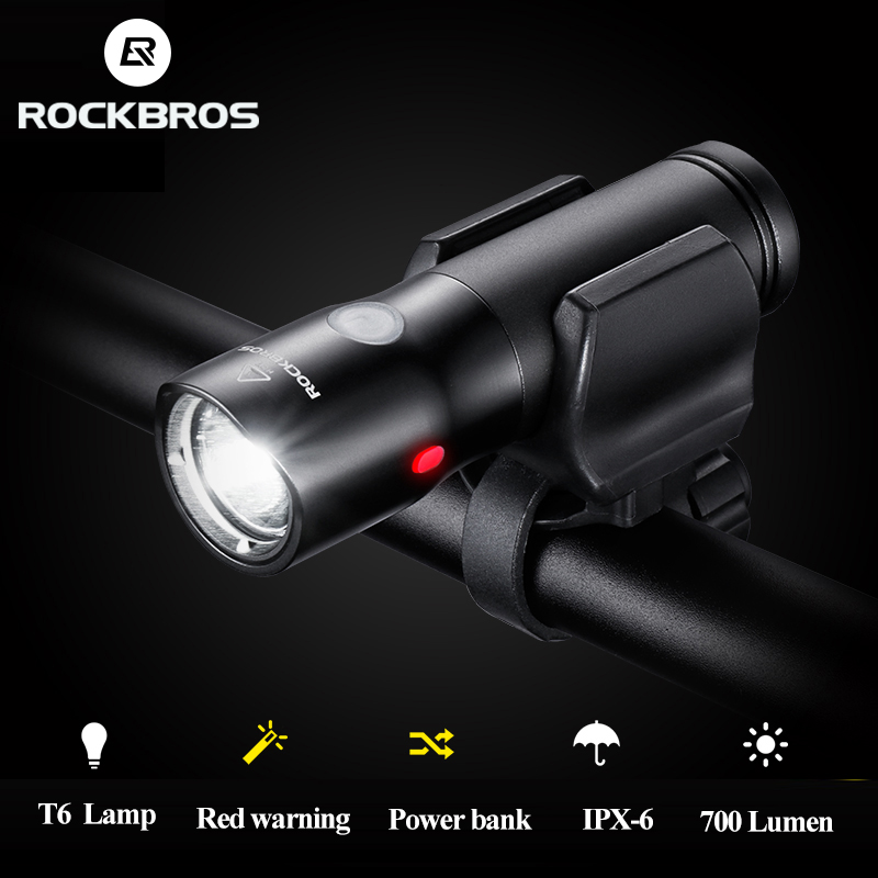ROCKBROS Bicycle Light Power Bank Waterproof USB Rechargeable Bike Light Side Warning Flashlight 700 Lumen 18650 2000mAh 6 Modes mejores fotos hechas en photoshop