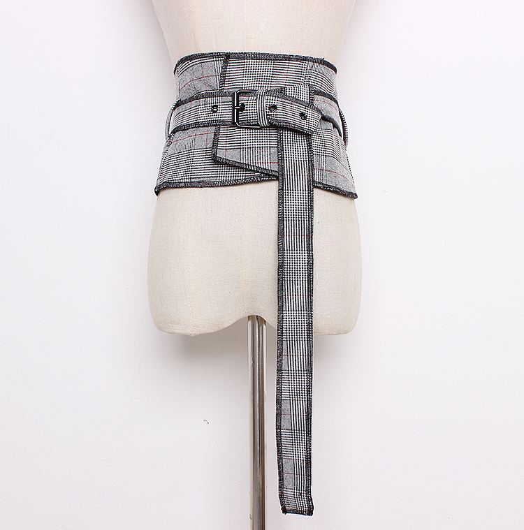 Women's Runway Fashion Plaid Checked Fabric Cummerbunds Female Dress Corsets Waistband Belts Decoration Wide Belt R1287