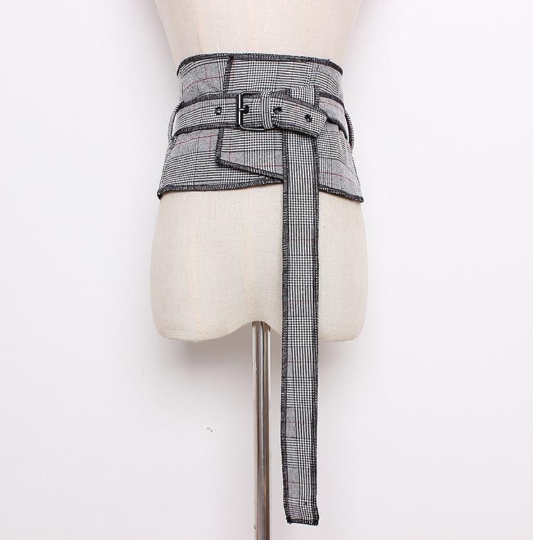 Women's Runway Fashion Plaid Checked Fabric Cummerbunds Female Dress Corsets Waistband Belts Decoration Wide Belt R1287