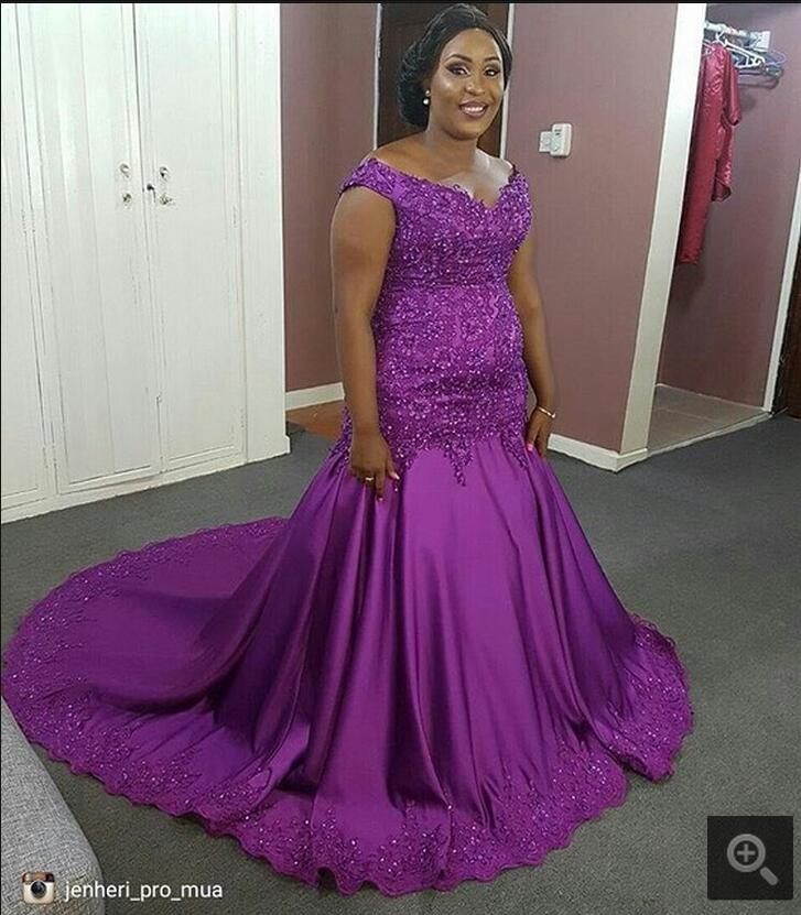 US $210.0 |Purple Mermaid black girls Prom Dresses African cap sleeve  Beaded Lace Appliques prom dress modest Plus size Formal Prom gowns-in Prom  ...