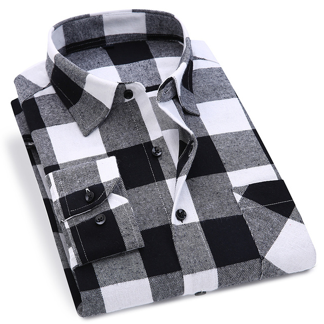 Men Flannel Plaid Shirt 100% Cotton 2019 Spring Autumn Casual Long Sleeve Shirt Soft Comfort Slim Fit Styles Brand Man Plus Size 3