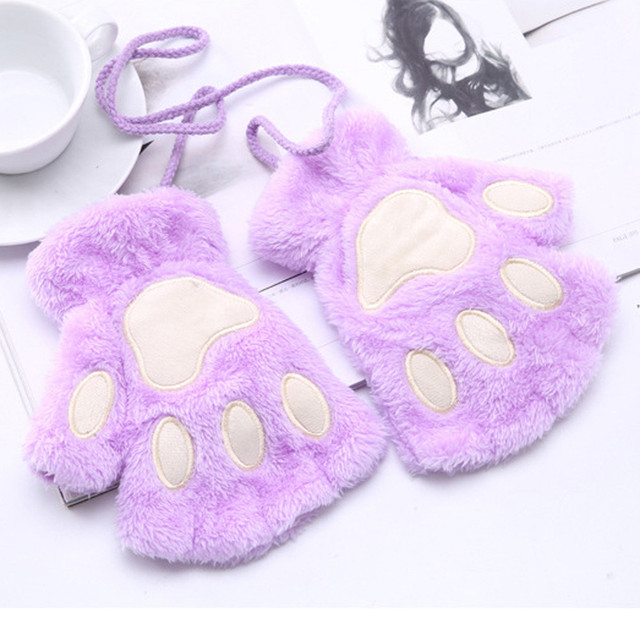 1 Pair Girls Lovely Fluffy Bear Cat Plush Paw Claw Half Finger Gloves 3