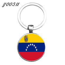 NEW On Sale Ukraine Flag Uruguay Venezuela national flag keychain llaveros glass Key ring Key chain pendants(China)