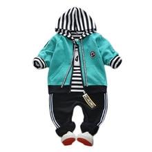 Kids Garment Boys Girls Spring Autumn Cotton Toddler Headset Pattern Motion Children Hooded 3Pcs Suit Tracksuit