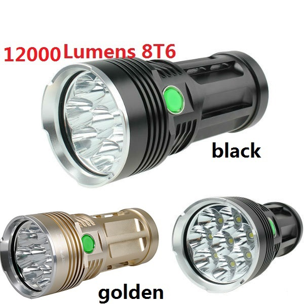 12000 Lumens 8T6 Super Bright Torch Lamp Light skyray king 8x CREE XM-L T6 LED Camping Flashlight 5 Mode Lantern Gold & Black super 3000lm zoomable cree xm l t6 led 18650 flashlight torch super bright light 170118