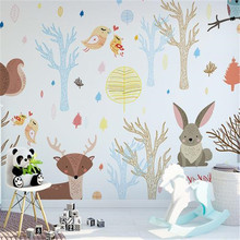 Custom Children Wallpapers Cartoon Forest Photo Wall Murals Kids Room Woods Birds Flowers Wall Papers for Living Room Home Decor 3d stereoscopic wallpapers for walls 3d custom photo cartoon pattern wall papers kids room murals livimg room home decor flowers