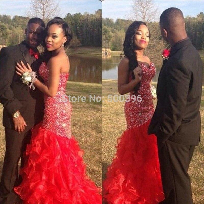 Beautiful Red Mermaid Prom Dress vestidos de fiesta 2017 Sweetheart ...