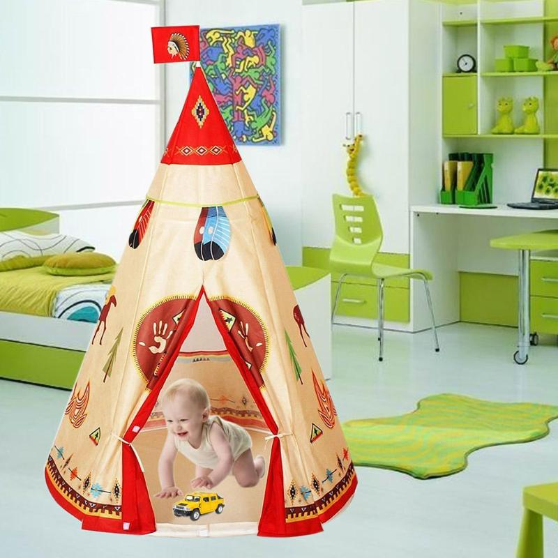 Natural Indian Pattern Unisex Children Toy Tent Cloth Indoor Game Playhouse Cloth Teepees Safety Portable Indoor Baby Tent Toys