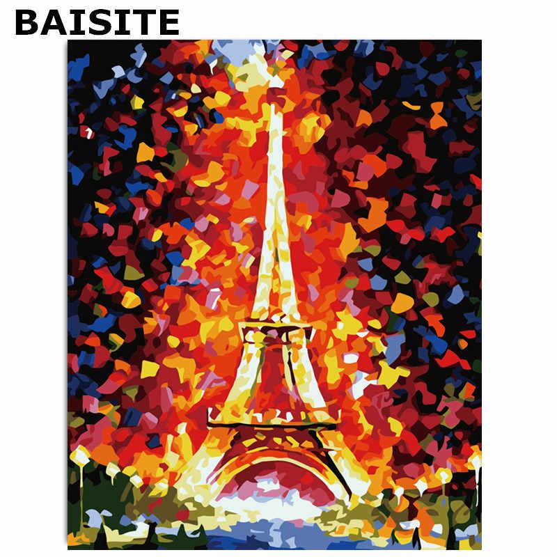 BAISITE Fameless DIY שמן ציור על בד מודרני קיר תמונות לסלון קיר אמנות בית תפאורה E069