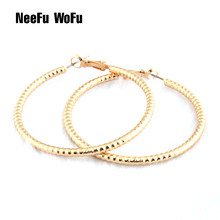 NeeFu WoFu Drop Big Earring Ring Flash Pattern Copper Long Brinco Ear Leopard Oorbellen Brinco Christmas Gift(China)