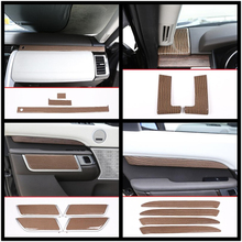 Luxury ABS Wood Chrome For Land Rover Discovery 5 Car All Kinds of Interior Accessories Cover Trim Frame Decoration Car Styling for land rover rand rover evoque car styling luxury interior accessory dark wood grain interior rearview mirror frame trim 1pc