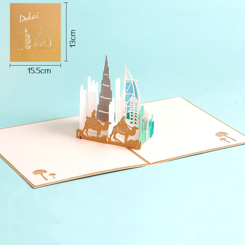 3D Laser Cut Handmade Modern Dubai City Architecture Paper Festival Blessing Greeting Card Business Creative Gift Souvenir